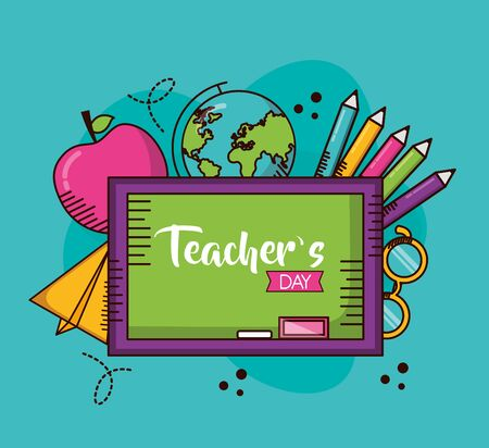 board globe apple paper plane eyeglasses school teachers day vector illustration
