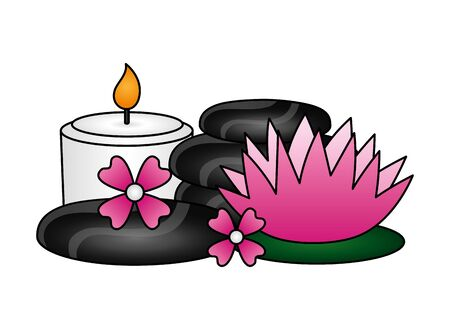 hot stones candle flowers spa treatment therapy vector illustration Stock Vector - 129483577
