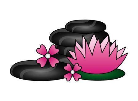 hot stones flowers spa treatment therapy vector illustration Иллюстрация