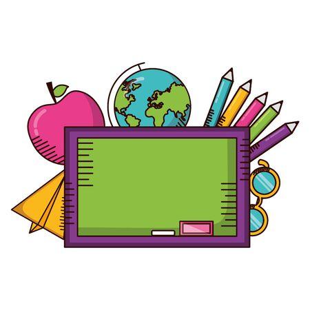 board globe apple paper plane eyeglasses school supplies vector illustration design