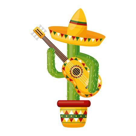 cactus with hat and guitar mexico cinco de mayo vector illustration