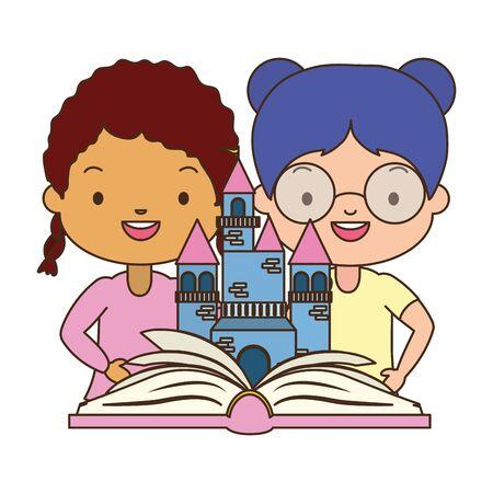 girls with fantasy textbook world book day vector illustration design Иллюстрация