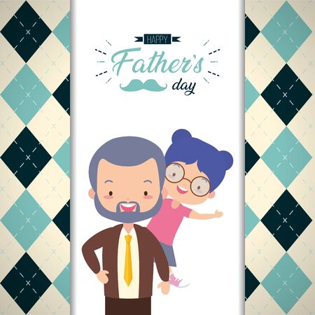 happy fathers day dad and daughter card vector illustration