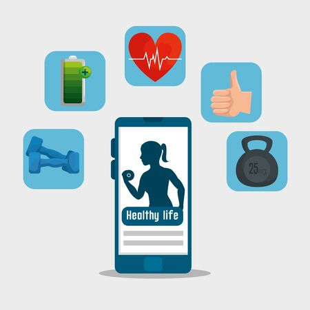 smartphone and labels with health lifestyle exercise vector illustration