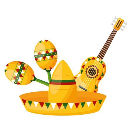 hat guitar maracas mexico cinco de mayo sticker vector illustration