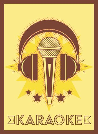 microphone and headphones karaoke retro style poster vector illustration