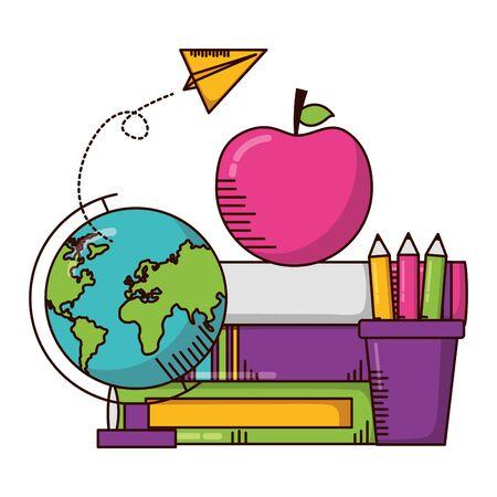 globe books pencils apple school supplies vector illustration design