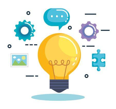 Glühbirne mit Business-Marketing-Vektor-Illustration-Design Vektorgrafik