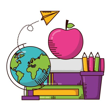 globe books pencils apple school supplies vector illustration design Stok Fotoğraf - 129483369
