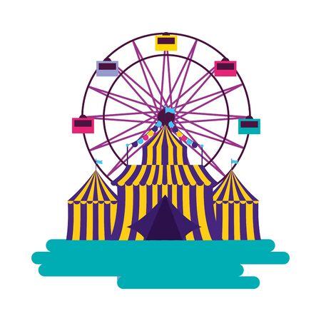 carnival tent ferris wheel amusement vector illustration design 스톡 콘텐츠 - 129482560
