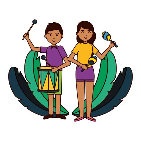 girl and boy drum and maracas musical instrument vector illustration