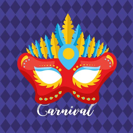 mask with feather decoration carnival vector illustration