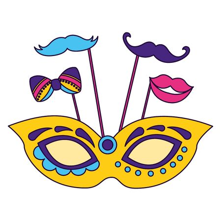 carnival mask mouth mustache vector illustration design