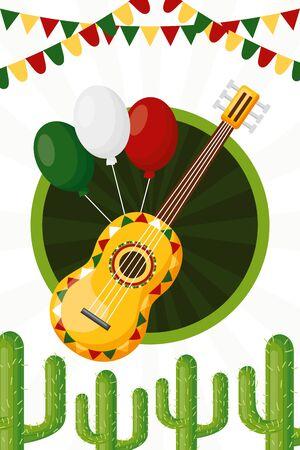 guitar balloons cactus celebration garland cinco de mayo vector illustration