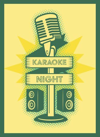 microphone speakers karaoke retro style poster vector illustration Иллюстрация