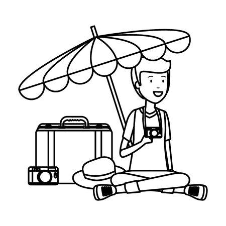 tourist man with suitcase and umbrella vector illustration design