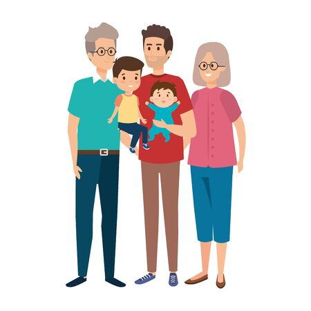grandparents couple with son and kids vector illustration design