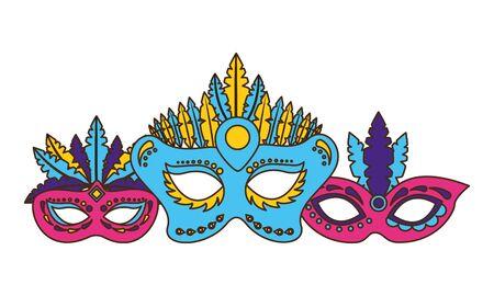 carnival mask decoration frame vector illustration design Illusztráció