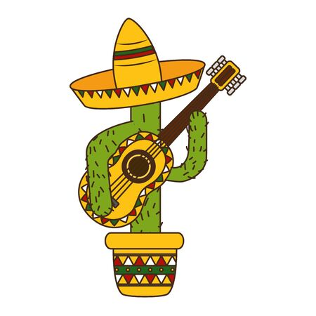 cactus con cappello e chitarra messico cinco de mayo illustrazione vettoriale Vettoriali