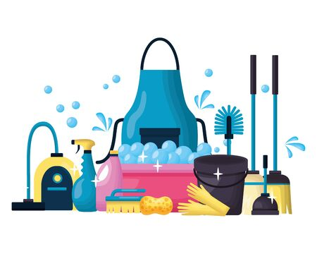 spring cleaning tools vacuum brush plunger broom vector illustration Ilustrace