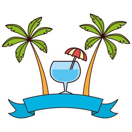 beach cocktail palms ribbon brazil carnival vector illustration