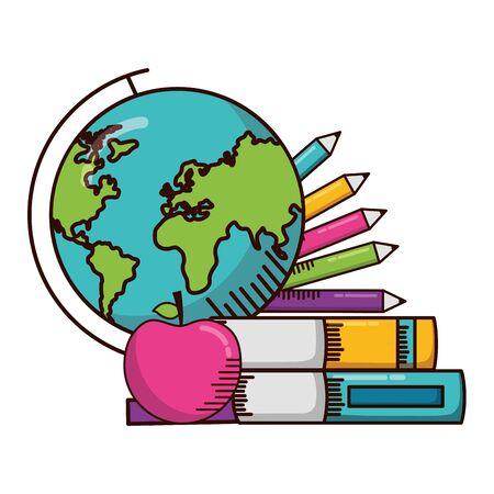 globe books pencils apple school supplies vector illustration design Stok Fotoğraf - 129483130