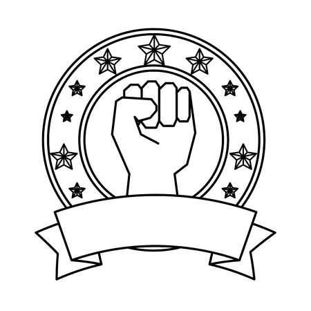hand human fist emblem vector illustration design
