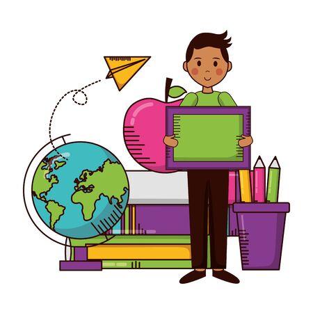 boy school blackboard globe apple books teachers day card vector illustration Stok Fotoğraf - 129482744