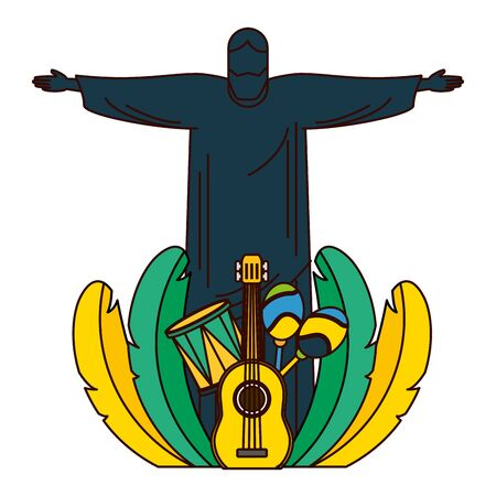 christ guitar drum maracas feathers brazil carnival vector illustration 向量圖像