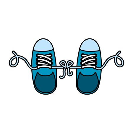 joke with shoes tied vector illustration design  イラスト・ベクター素材