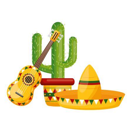 hat guitar and cactus mexico cinco de mayo vector illustration Standard-Bild - 129482759