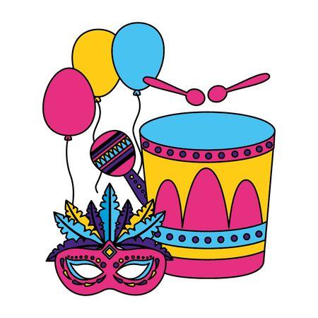 carnival drum mask maraca balloons vector illustration