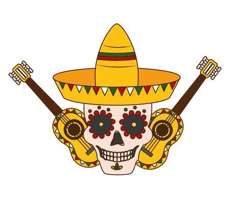 skull guitars and hat mexico cinco de mayo vector illustration