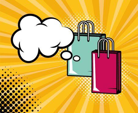 shopping bags speech bubble halftone pop art vector illustration