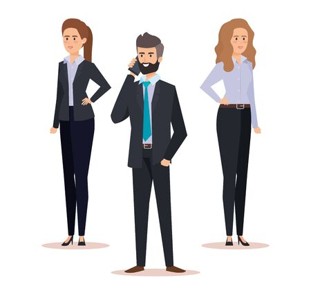 professional businesswomen and businessman elegant executive vector illustration