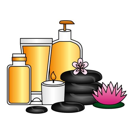 candle stones products lotion gel care spa therapy vector illustration