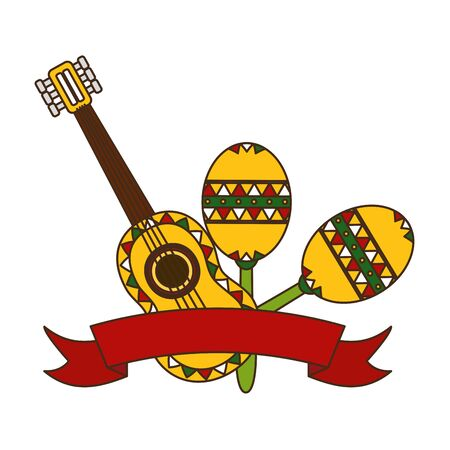 guitar maracas mexico cinco de mayo sticker vector illustration  イラスト・ベクター素材