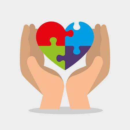 hand with heart puzzle to autism day vector illustration Standard-Bild - 129482842