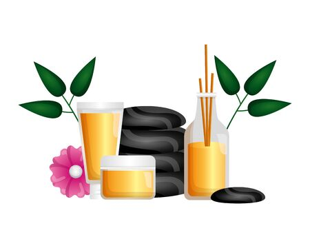 stones aroma sticks products flower spa therapy vector illustration Ilustração