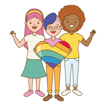 happy women heart rainbow lgbt pride vector illustration