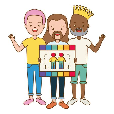 happy men with board lgbt pride vector illustration