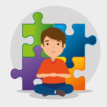 kid with puzzles to autism awareness day vector illustration 일러스트