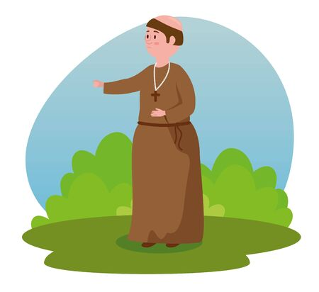man monk with crucifix and bushes plants to tale character, vector illustration
