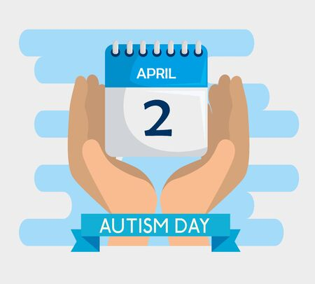hands with calendar to autism awareness day vector illustration 일러스트