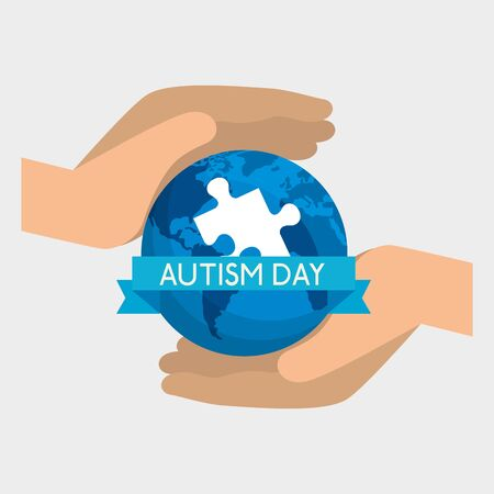 hands with global map and puzzle to autism day vector illustration
