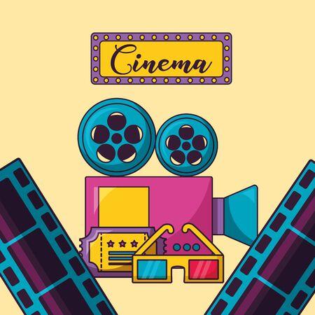billboard projector 3d glasses ticket strip film cinema movie vector illustration