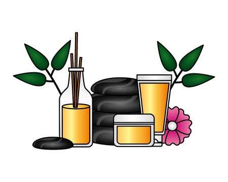 stones aroma sticks products flower spa therapy vector illustration Çizim