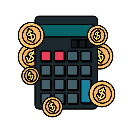 calculator math with coins dollars vector illustration design 일러스트