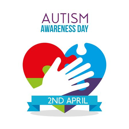 heart puzzle with hand to autism day vector illustration