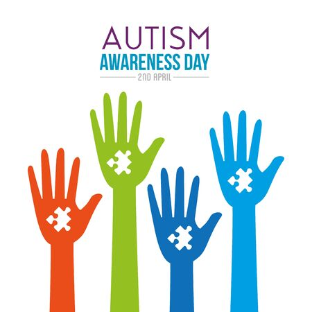 hands up with puzzle to autism day vector illustration Standard-Bild - 129490355
